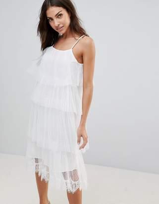 ENGLISH FACTORY The Sleeveless Mesh Layered Midi Dress