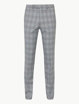 Marks and Spencer Grey Checked Skinny Fit Trousers