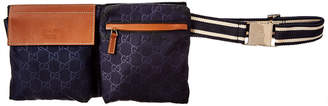 Gucci Navy Nylon & Brown Leather Waist Pouch
