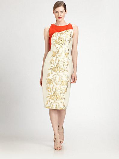 Carolina Herrera Baroque Lamé Jacquard Dress