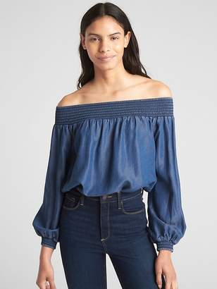 Gap Smocked Off-Shoulder Balloon Sleeve Top in TENCEL