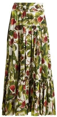 Dolce & Gabbana Fig Print Cotton Maxi Skirt - Womens - White Multi