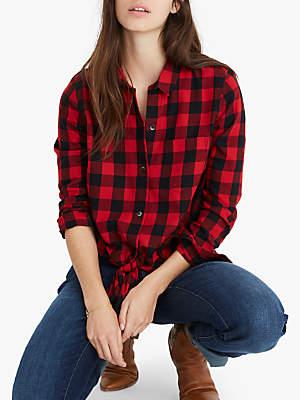 2b7454f051 Madewell Tie Front Check Shirt, Sasha Buffalo Cranberry