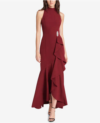 Vince Camuto Embellished Ruffled Gown