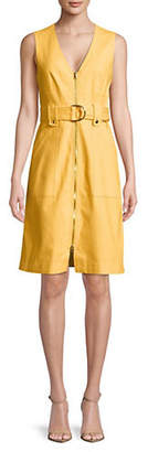 Diane von Furstenberg Belted Zip-Up A-Line Dress