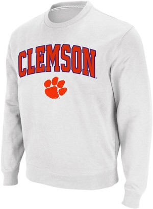 Colosseum Men's White Clemson Tigers Arch & Logo Crew Neck Sweatshirt