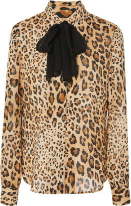 Frame Pussy Bow Leopard Print Silk Chiffon Blouse