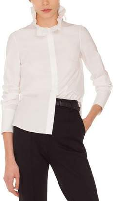Akris Punto Ruffle-Collar Button-Front Long-Sleeve Cotton Shirt