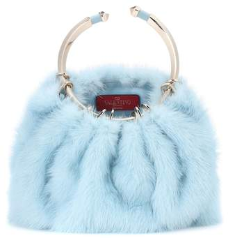 Valentino Bebop Loop mink fur clutch