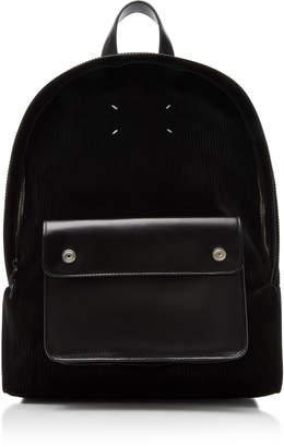 Maison Margiela Corduroy and Leather Backpack
