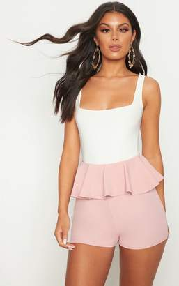 PrettyLittleThing Pale Pink Scuba Crepe Frill Waist Detail Short