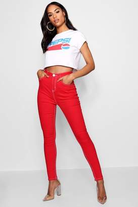 boohoo High Waisted Contrast Stitch Skinny Jean