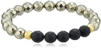 Satya Jewelry Onyx and Pyrite Stretch Bracelet