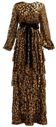 Valentino Tiered Leopard Fil Coupe Chiffon Gown - Womens - Black Gold
