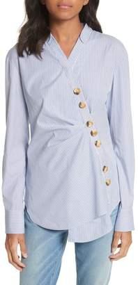 Tibi Asymmetrical Pinstripe Shirt