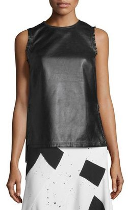 Derek Lam Sleeveless Fringed Leather Shell, Black $1,595 thestylecure.com