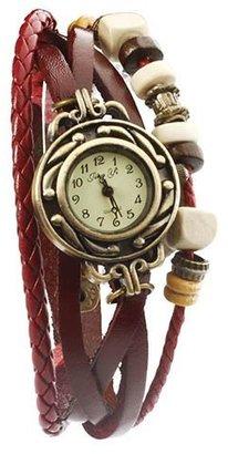 Alpha A (アルファ エー) - 本革 ベルト クォーツ腕時計 レザーブレスレットタイプ ウォッチ リーフチャーム付 D00060Z