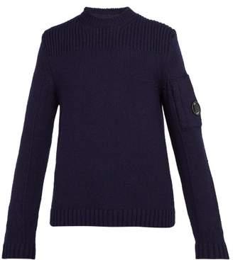 C.P. Company Lens Trim Wool Blend Sweater - Mens - Navy