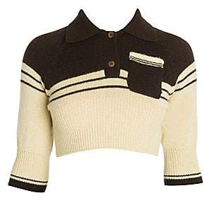 Miu Miu Women's Cashmere Cropped Striped Polo Knit Top