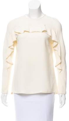 Lela Rose Faux Pearl Embellished Silk Blouse