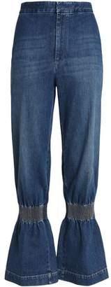 Stella McCartney Shirred Faded Mid-Rise Wide-Leg Jeans