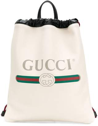 Gucci logo print drawstring backpack