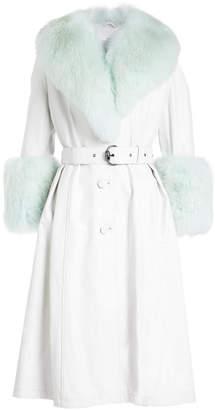 Saks Potts Leather Coat with Fox Fur