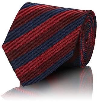 Ermenegildo Zegna Men's Striped Textured-Silk Necktie