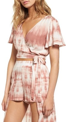 Women's Mimi Chica Tie Dye Crop Wrap Top $35 thestylecure.com