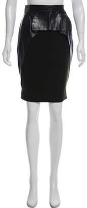 Nina Ricci Leather-Accented Knee-Length Skirt Black Leather-Accented Knee-Length Skirt