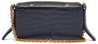 Lutz Morris - Elise Crocodile Effect Leather Shoulder Bag - Womens - Navy