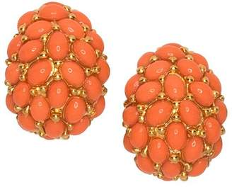 Kenneth Jay Lane Coral Cabochon Hoop Clip Earrings