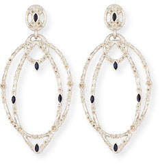 Armenta New World Double-Hoop Earrings with Champagne Diamonds