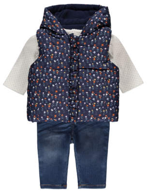 George Floral Gilet and Jeans Outfit