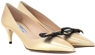 Prada Metallic leather pumps