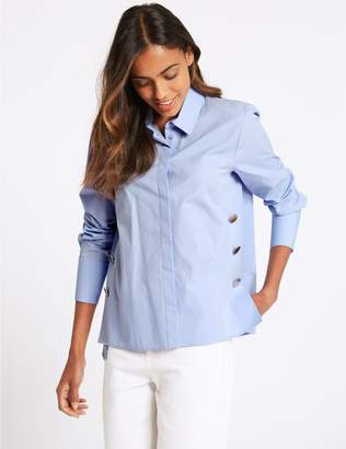 Marks and Spencer Pure Cotton Press Stud Long Sleeve Shirt