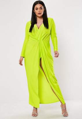 Missguided Plus Size Lime Thigh Split Maxi Dress, Lime