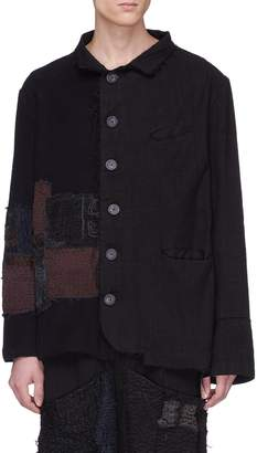 By Walid Contrast panel linen-cotton shirt jacket