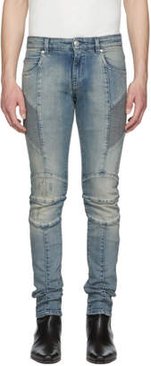 Pierre Balmain Blue Light Washed Biker Jeans