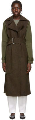 Victoria Beckham Khaki and Brown Contrast Sleeve Fitted Coat