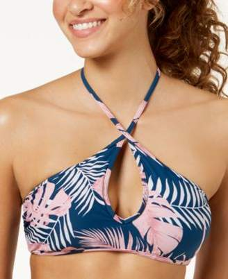 Macy's Hula Honey Junior's Paradise Leaves Printed Keyhole Halter Bikini Top, Created for