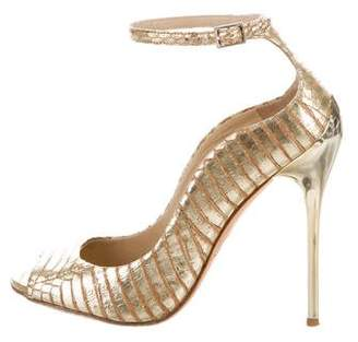 Brian Atwood Metallic Embossed Painted Leather Ankle-Strap Peep-Toe Pumps