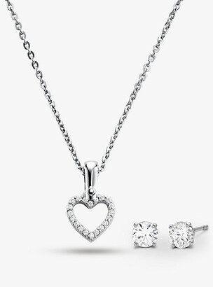 2479f3c534b58 Michael Kors Precious Metal-Plated Sterling Silver Pave Heart Necklace And Stud  Earrings Set
