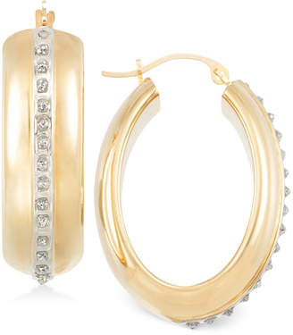 Signature Diamonds Wide Hoop Earrings in 14k Gold over Resin Core Diamond and Crystallized Diamond Dust