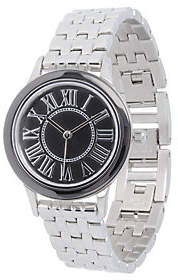 Steel by Design Stainless Steel Panther Link Watch with Ceramic Accent