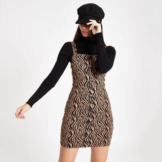 River Island Womens Brown zebra print pinafore mini dress