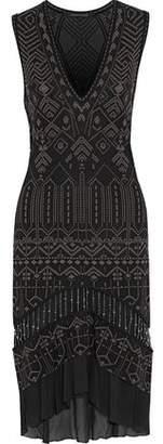 Roberto Cavalli Bead-Embellished Metallic Jacquard Dress