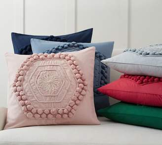 Pottery Barn Pom Pom Embroidered Pillow Cover