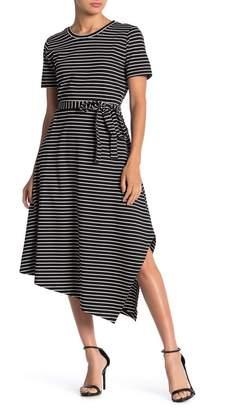 T Tahari Striped Asymmetrical Tie Waist T-Shirt Dress