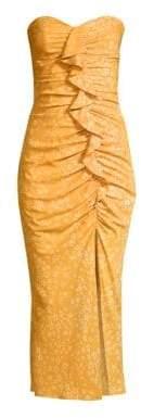 LIKELY Ali Print Strapless Midi Dress